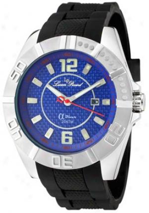 Luien Piccard Men's A Diver Blue Carbon Fiber Dial Black Silicone A2216bu