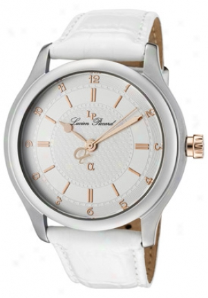 Lucien Piccard Men's Alpha Light Silver Textured Dial White Genuine Leather A2204wh