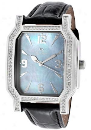 Lucien Piccard Men's Barrel White Diamond (0.90 Ctw) Blue Mop Dial Black Pure Learher 27036bkc