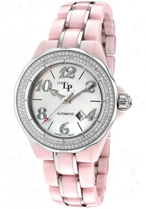 Lucien Piccard Women's Celano Automatic White Diamonds (1.10 Ctw) Pink Ceramic &zmp; Stainless Steel 27123pk