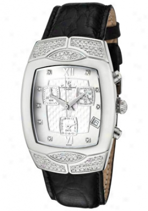 Lucien Piccard Women's Chronograph White Diamond (0.91 Ctw) Silver Textuerd/white Dial Black Genuine Leather 27967bk