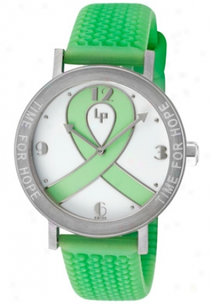 Lucien Piccard Women's Love, Peace & Hope White Dial Green Textured Rubber H12
