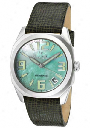 Lucien Piccarrd Women's Monaco Light Green Mother Of Pearl Dial Dark Green Genuine Leather 2a-351