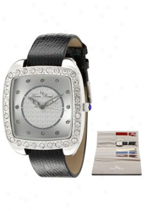Lucien Piccard Women's White Swarovski Crystal Silver Lovo Textured Dial Black Leather 28507int