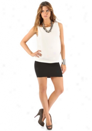 Maaggie Ward White & Black Sleeveless Silk Dress Dr-312-404-whblk-m