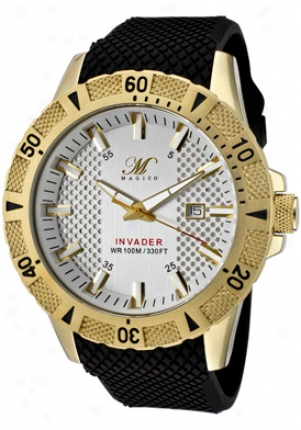 Magico Men's Invader Silver Textured Dial Gold Tone Ip Case Blakc Textured Silicone 325-yg-02s