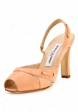 Manolo Blahnik Afra Peach Suede Peep Toe High Heel Sandals Afra-peach-36