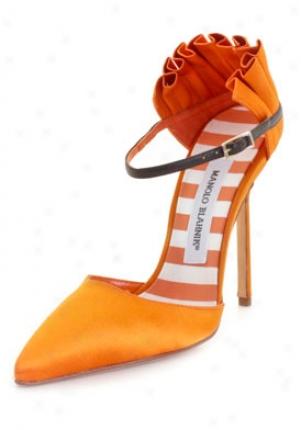 Manolo Blahnik Bujaye Orange Satin High Heels Bujaye-orange-40.5
