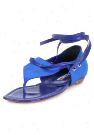 Manolo Blahnik Murene Blue Thong Canvas Sandals Murene-blue-40