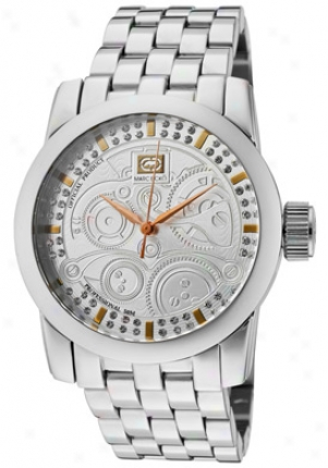 Marc Ecko Men's Etched White Crystsl Silver Textured Dial Stainless Steel E11506g1
