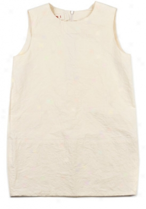 Marni Girls Cream Sleeveless Linen Dreess Dr-abmbcc6a0tl132-al8