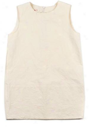 Marni Girls Cream Sleeveless Linen Dreess Dr-abmbcc6a0tl132-al8