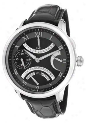Mauric Lacroix Men's Masterpiece Mechanical Gmt Retrograde Black Dial Black Leather Mp7218-ss001-310
