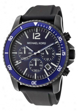 Michael Kors Men's Chronograph Blue Dial Black Caoutchouc Mk8165
