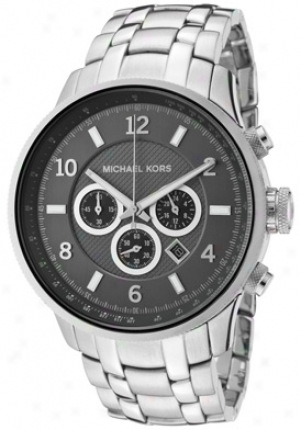Michael Kors Men's Chronograph Gunmetal Dial Spotless Steel Mk8075