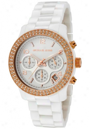 Michael Kors Women's Chronograph White Crystal White Ceramic Mk5269