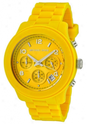 Michael Kors Women's Chronograph Yellow Dial Yellow Silicon Mk5297