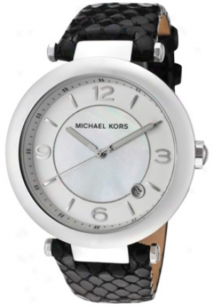 Michael Kors Women's Silver Mother Of Pearl Dismal Leather Mk5072
