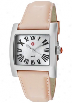 Michele Women's White Mother Of Pearl Dial Peach Leather Mww07b00a0025/peach