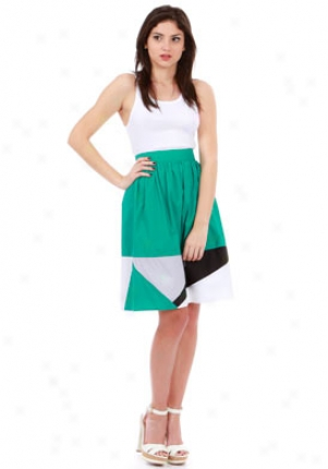 Mint Jodi Arnold Green Geometric Border Skirt Wbt-10001910