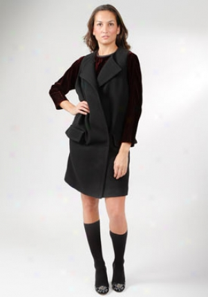 Miu Miu Black Sleeveless Wool Coat Co-ms583s31-nero-42