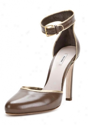 Miu Miu Light Bdown Leather Pumps 5i7440lx2-pietrao39.5