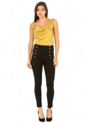 Moschino Cheap And Chic Mustard Pearl Trimmed Top Wtp-a0801-6142-y-44