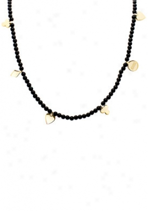 Moschino Moschino Common And Chic Casino Royal Yellow Gold Tone & Red Bead Necklace Mj0023
