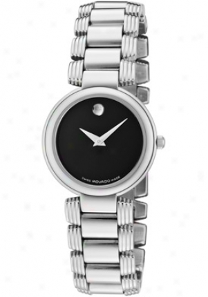 Movado Women's Black Dial Stainless Steel 0605016