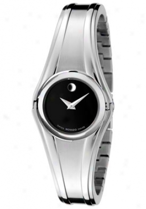 Movado Women's Oscillate Black Museum Dial Stainleqs Steel Banglr 0606175