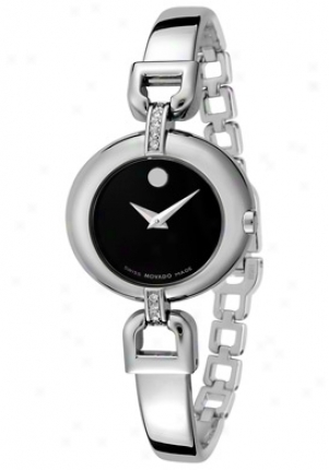 Movado Women's Vivo Black Dial Stainless Steel 605603