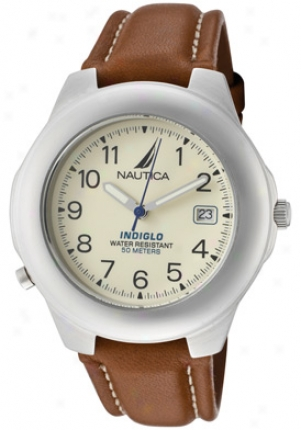 Nautica Men's Indiglo Ivory Dial Brown Leather N07501