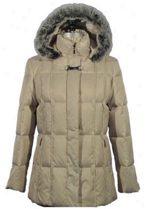 Naugica Jewel 3/4 Length Down Coat Q220341-pearl-s