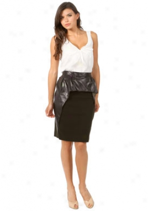 Nina Ricci Dark Chestnut Skirt With Leather Overlay Wbt-ju185-ln0035-c-44