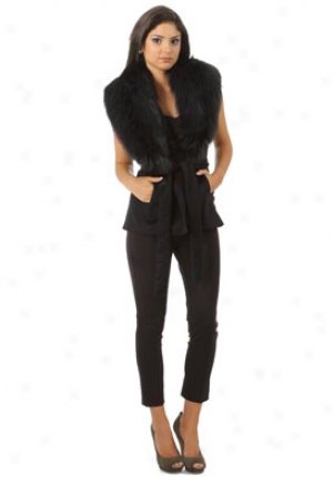 Nonoo Lyons Black Sleeveless With Faux Fur Jacket Ja-fw10217-black-4