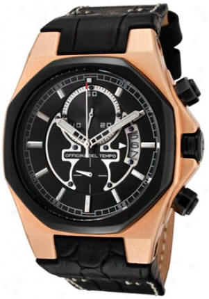 Officina Del Tempo Men's Race Chronograph Black Leather Ot1028-11n