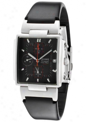 Orient Men's Chronograph Black Dial Black Leather Ctdab002b0