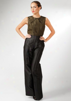 Oscar De La Renta Black Silk Wide Leg Pants Wbt-4n308-black-10