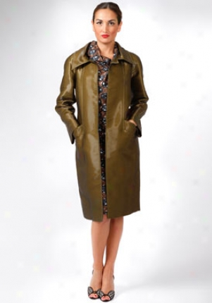 Oscar De La Renta Green Long Coat Co-4n805-citrine-8