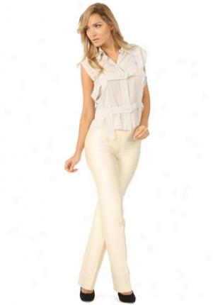 Oscar De La Renta Vanilla Floor Front Pants Wbt-8n326-va-4