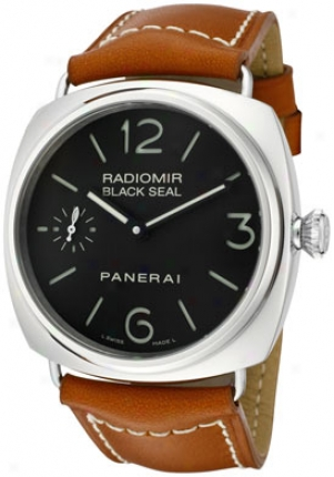 Panerai Men's Radiomr Black Seal Mechanical Black Dial Brown Leather Pam00183
