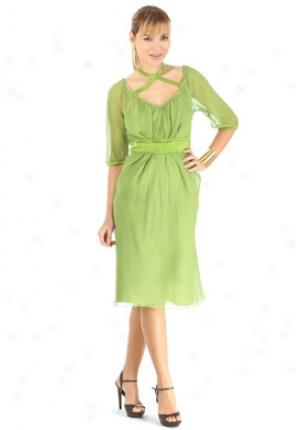 Philosophy Di Alberta Ferretti Green Silk Chiffon Dress Dr-041507-gr46