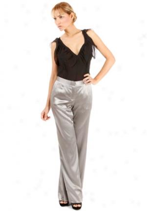 Philosophy Di Alberta Ferretti Silver Straight Leg Silk Pants Wbt-032507gr42