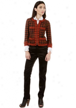 Plenty By Tracy Reese Orange Long Sleeve Checkered Peint Jacket Ja-hifs45-jkt-org-2