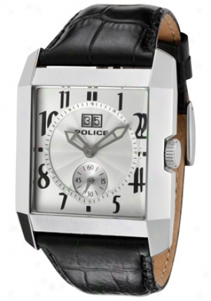 Police Men's Silver Guilloche Dial Black Leather 10285ms/04