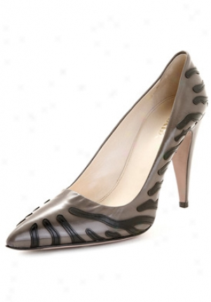 Prada Grey With Black Tiger Stripes Smooyh Leather Pumps 1i474axmr-fumo-blk-41