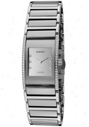 Rado Women's Diastar White Diamond Silver Morrored Dial Platinum High-tech Ceramic R20733712