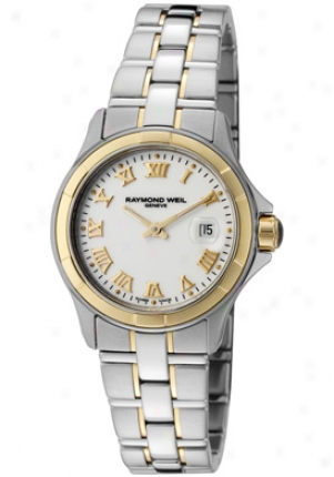 Raymodn Weil Women's Parsifal White Dial 18k Gold & Stainless Steel 9460-sg-00308