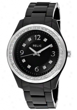Relic By Fossil Women's Bella Whie Austrian Crystal Black Dial Black Resin Zr11891