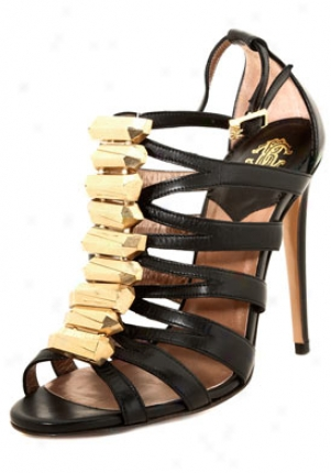 Roberto Cavalli Black Leather High Heel Sandals Mps097pz132-blk-36